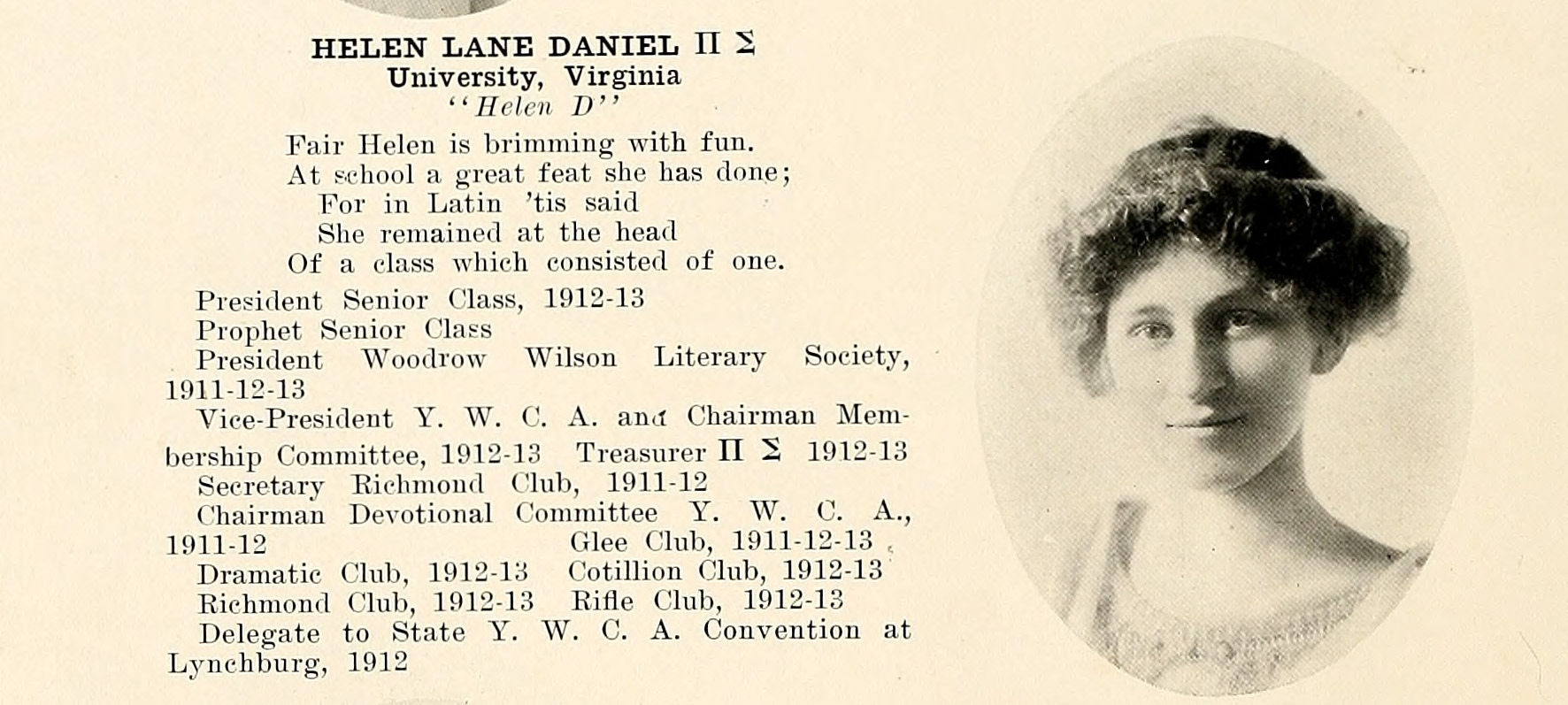 Photograph of Helen Lane Daniels from the 1913 Battlefield yearbook