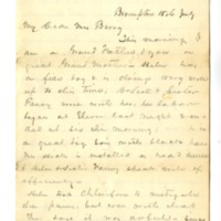 Letter from John Green Lane to Helen Berry, July 15, year unknown